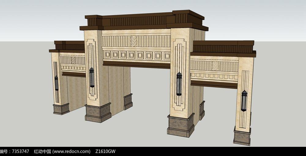 欧式高档小区大门设计模型图片