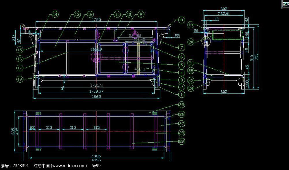中式古典家具ca d结构生产图三联柜橱