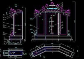 中式古典家具CAD结构生产图岁凳图屏风