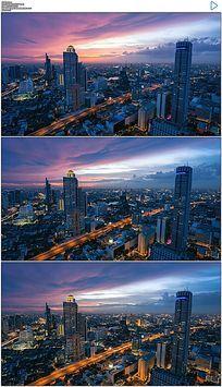 繁华曼谷都市日落实拍视频素材 mov