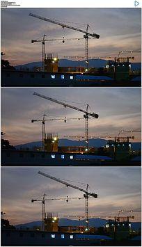 黄昏时分建筑工地起重机塔吊实拍视频 mov