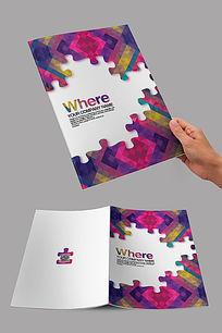 紫色创意拼图封面
