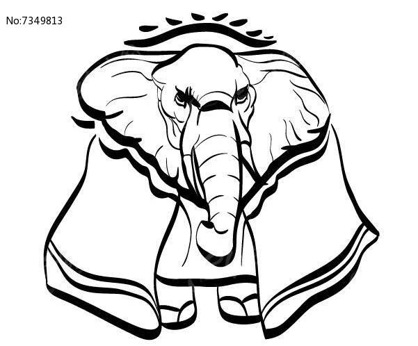 简洁手绘线条大象