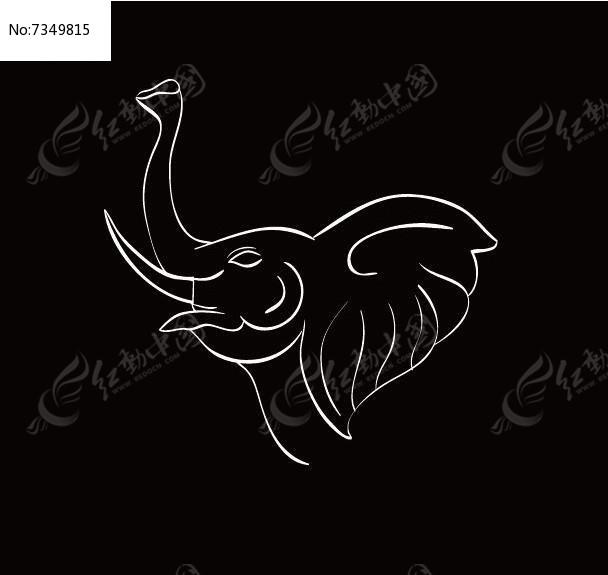 简约线条手绘线条大象ai素材下载_动物插画设计图片