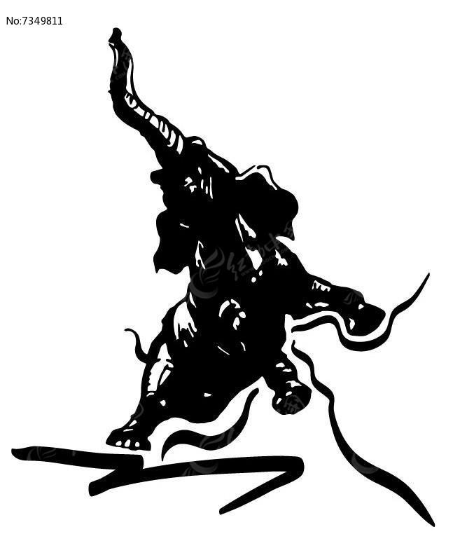 炫酷手绘线条大象ai素材下载_动物插画设计图片
