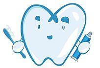 蓝色卡通牙齿形象设计