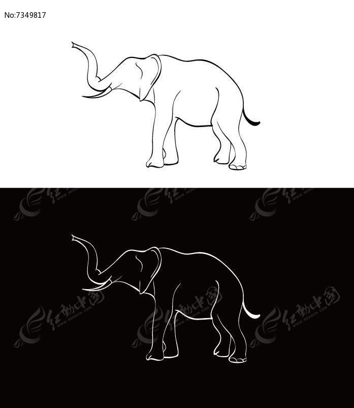 时尚简约手绘线条大象ai素材下载_动物插画设计图片