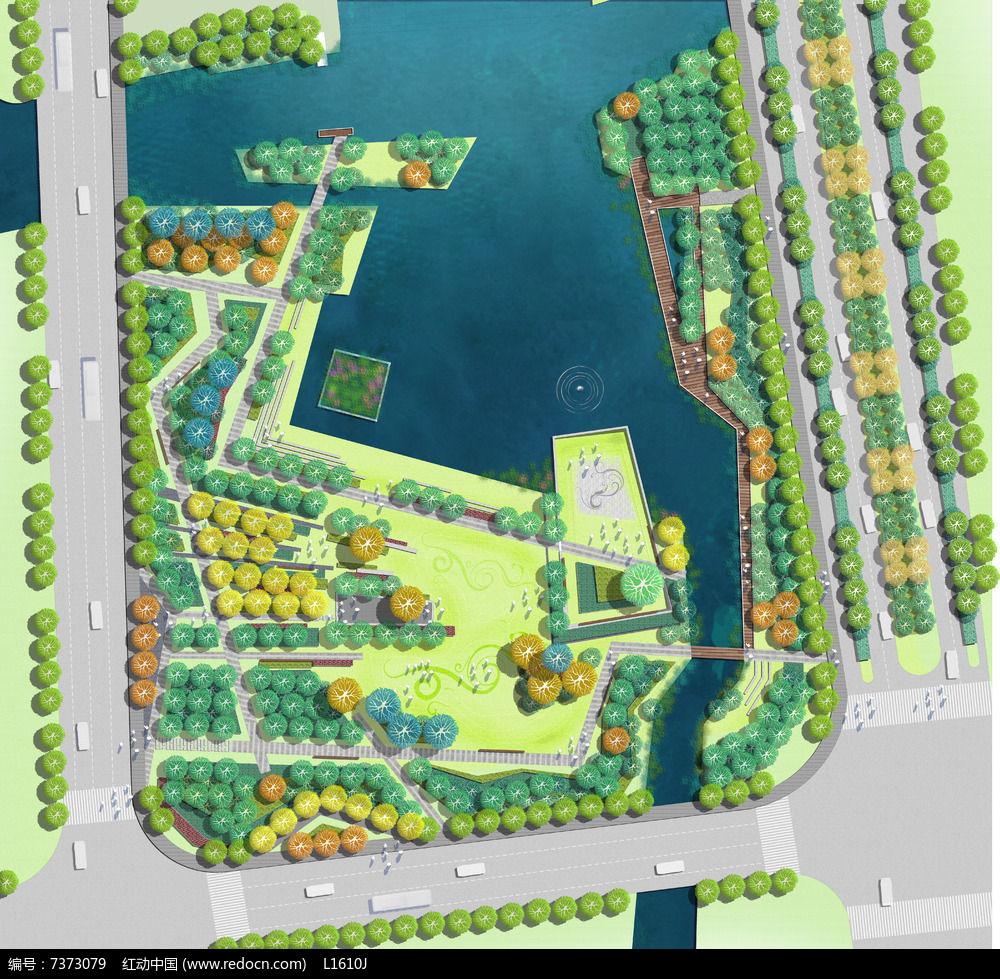 公园景观PSD彩色平面素材分层图片
