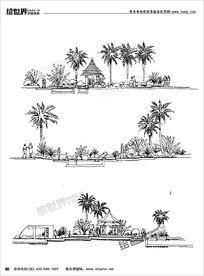 公园景观线稿
