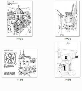 国外建筑师手绘建筑立面图 JPG