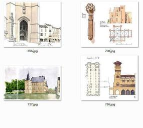国外建筑师手绘水彩画