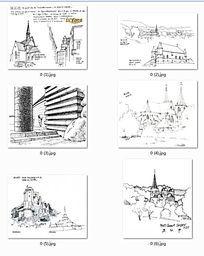 国外建筑手绘线稿