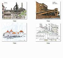 国外建筑水彩画