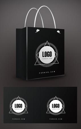 黑色炫酷几何手提袋