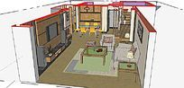 家装客厅精细模型