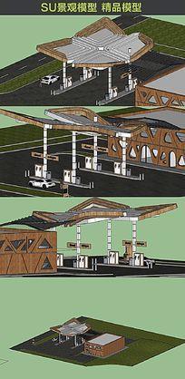欧式加油站的SU模型设计