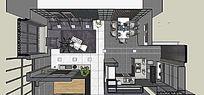 欧式室内厨房带客厅