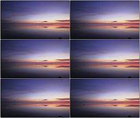 清晨日出前的湖面视频