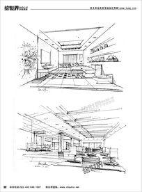室内景观透视线稿 JPG