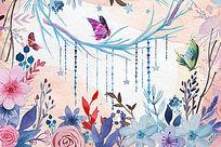 手绘花朵蝴蝶电视背景墙