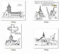手绘图建筑钢笔画图纸