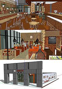 书吧咖啡厅室内室外景观模型