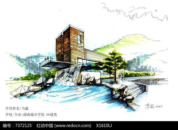 水景建筑流水手绘