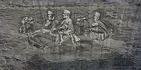 外国人骑马石刻雕塑