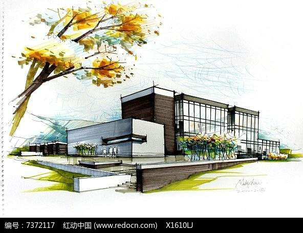 现代建筑别墅手绘