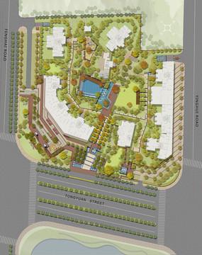 小区加商业景观设计彩色平面PSD