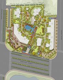 小区加商业景观设计彩色平面PSD PSD