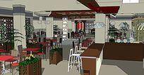 新中式阳光茶艺餐厅模型