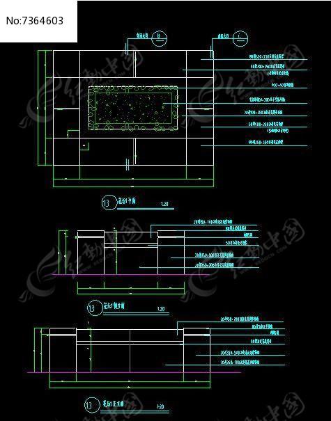 正方形花坛花钵cad素材下载_花坛树池设计图片
