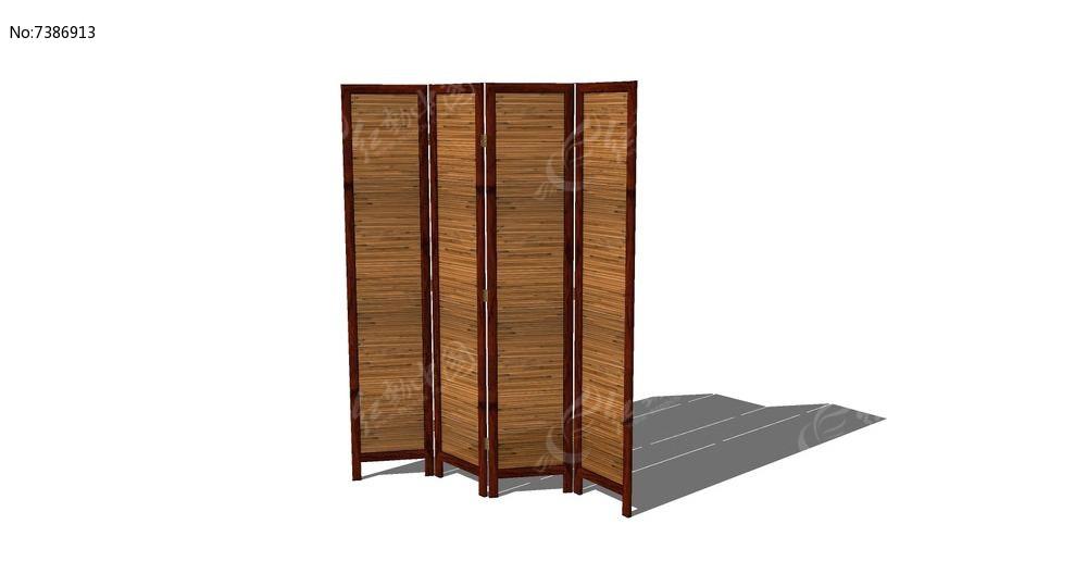 中式木屏风skp素材下载_围墙|栏杆|大门设计图片图片