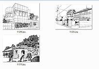 住宅房子线稿手绘