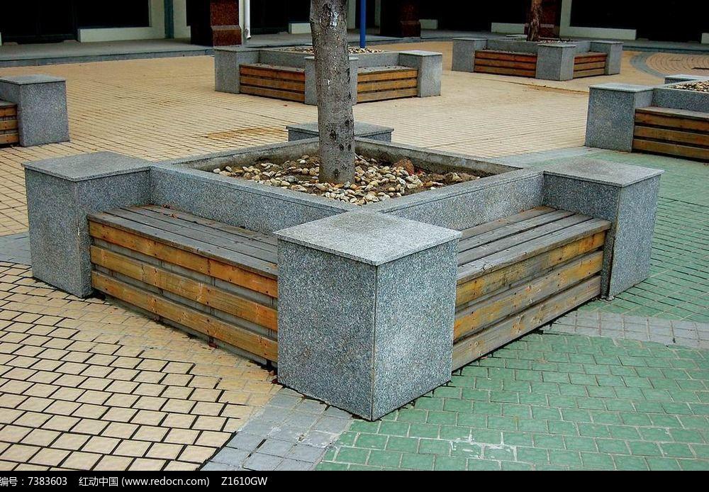 方形树池坐凳意向