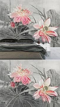 工笔荷花背景墙荷花工笔画复古新中式水墨画