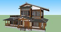 两层木结构中式茶室建筑模型