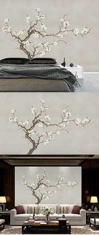 梅花背景墙手绘梅花壁纸工笔梅花新中式装饰画分层
