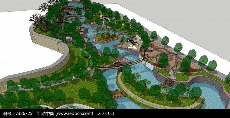 某公园景观模型图片