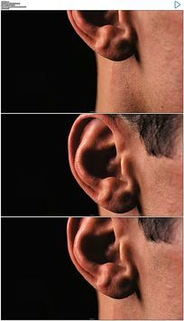男人脖子到耳朵特写实拍视频素材