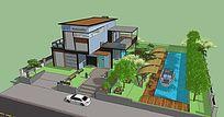 欧式咖啡店建筑及休闲场所SU景观模型