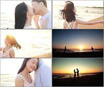 情侣海边约会玩闹视频