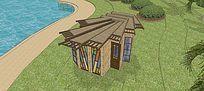 水边单人木房子模型