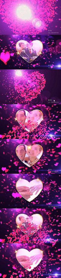 心形玫瑰花瓣动画爱情婚礼片头视频会声会影模板