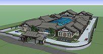 新中式办公酒店建筑SU模型