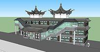 新中式大酒店建筑的SU模型