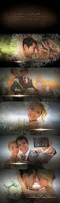 绚丽金色爱心粒子婚礼相册动画视频会声会影模板
