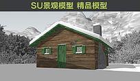 雪山小木屋SU模型