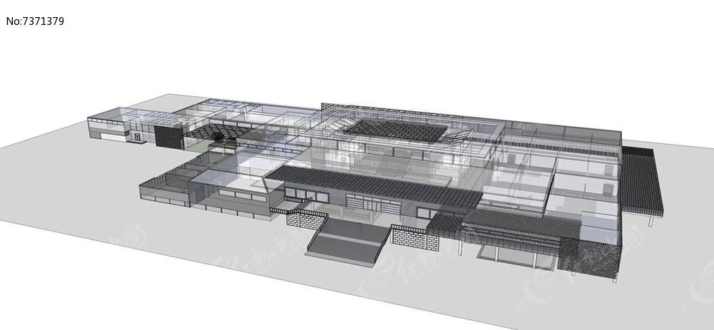 中式钢结构文化博物馆模型